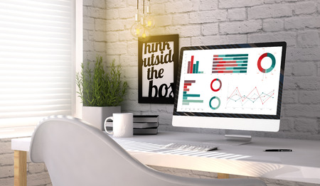 stilish: Computer generated stilish workplace with finances computer. All screen graphics are made up. Stock Photo
