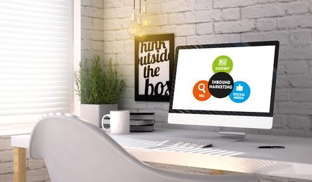 Handelskonzept: Computer-generierte mit Inbound-Marketing-System auf dem Bildschirm auf stilish Arbeitsplatz. Alle Grafiken bestehen.