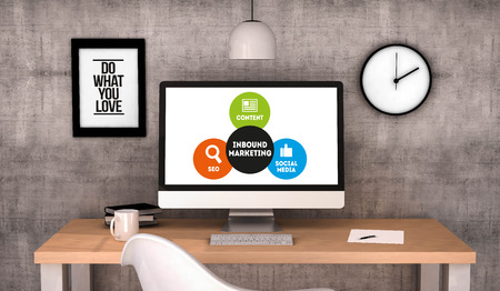 inbound marketing: digital generated workspace desktop with Inbound Marketing on screen computer. All screen graphics are made up. 3D generated. Stock Photo