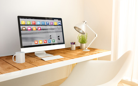 Study Desk: minimalist modern studio with computer and copyspace. 3d illustration. all screen graphics are made up. Stock Photo
