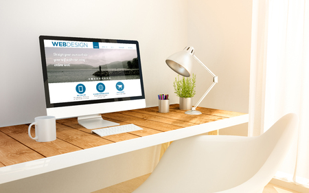 minimalist freelance web designer studio with design website on screen computer and copyspace. 3d illustration. all screen graphics are made up. Banque d'images