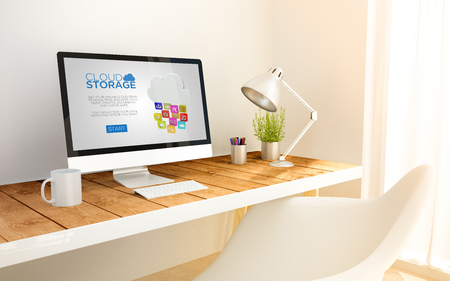 platforms: 3d generated minimalist workspace with cloud storage computer screen computer and copyspace. 3d illustration. all screen graphics are made up.