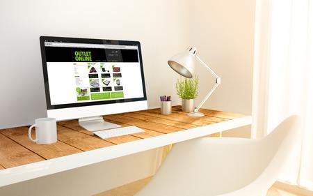 3d erzeugt minimalistischem Arbeitsplatz mit Online-Outlet-Computer und Exemplar. 3D-Darstellung. Alle Bildschirmgrafiken bestehen.