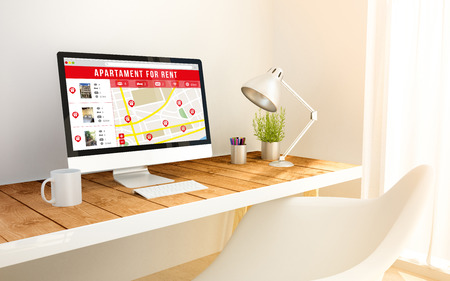 apartment search: 3d generated minimalist workspace with apartment for rent search computer screen computer and copyspace. 3d illustration. all screen graphics are made up. Stock Photo