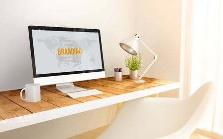 3d generated minimalist workspace with branding search computer screen computer and copyspace. 3d illustration. all screen graphics are made up.