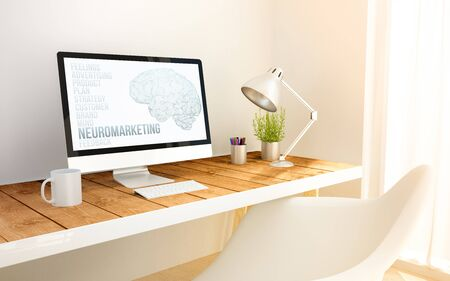 manipulate: 3d generated minimalist workspace with neuromarketing screen computer and copyspace. 3d illustration. all screen graphics are made up.