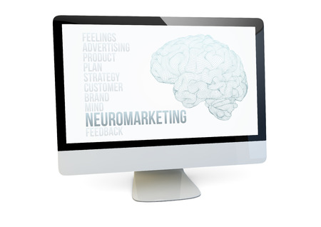 influential: modern marketing online concept: render of a computer with neuromarketing on the screen isolated Stock Photo