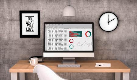 hoja de calculo: digital generado escritorio espacio de trabajo con hojas de cálculo en el ordenador de pantalla. Todos los gráficos de la pantalla se componen. 3D generado. Foto de archivo