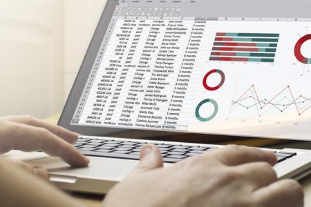 usando computadora: Concepto de las finanzas: el hombre usando una computadora portátil con una hoja de cálculo en la pantalla. Pantalla de gráficos se componen.