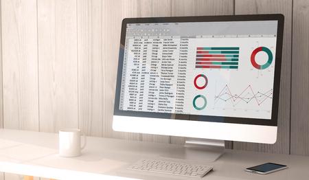 Digitaal render gegenereerde werkruimte met spreadsheet op het scherm van computer en smartphone. Alle schermafbeeldingen zijn opgebouwd. 3d illustratie. Stockfoto