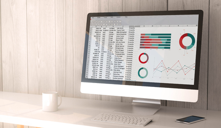 digital render generated workspace with spreadsheet on the screen of computer and smartphone. All screen graphics are made up. 3d illustration.