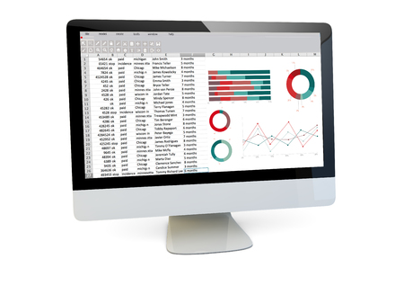 modern finances concept: render of a computer with spreadsheet on the screen isolated
