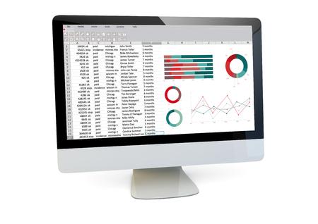 moderne Finanzen Konzept: Darstellung von einem Computer mit Kalkulationstabelle auf dem Bildschirm isoliert Lizenzfreie Bilder