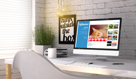 influencer marketing concept: Computer generated with influencer profile on the screen on stylish workplace. All graphics are made up. Stock Photo