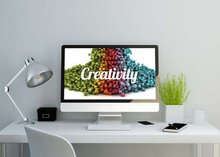 desktop computers: modern clean workspace showing creativity pixels on screen. 3D illustration. all screen graphics are made up.