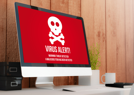 anti piracy: modern wooden workspace with computer showing virus alert. All screen graphics are made up. 3D illustration. Stock Photo
