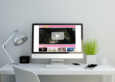 modern clean workspace mockup with videostreaming website on screen. 3D illustration. all screen graphics are made up. 免版税图像
