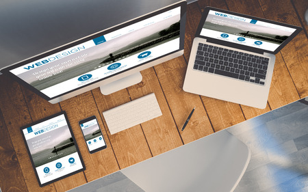 top view of a computer, laptop, smartphone and tablet on a desktop workspace. Order online responsive website on screen. 3d Illustration. All screen graphics are made up.