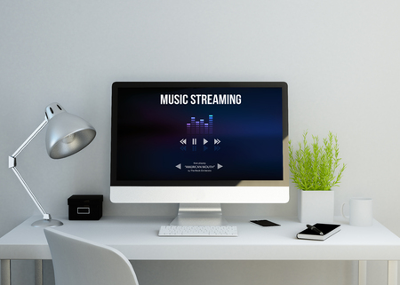 streaming: modern clean workspace mockup with music streaming website on screen. 3D illustration. all screen graphics are made up.
