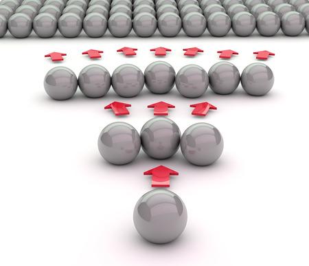 viral marketing concept. 3D illustration made with metal balls.