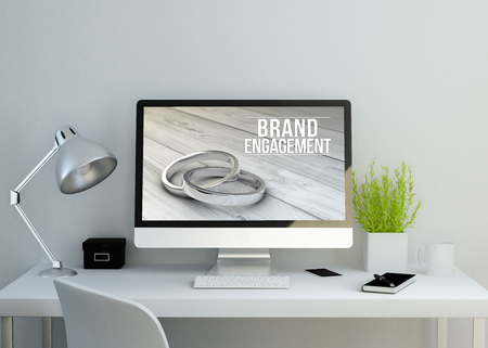 strategic advantage: modern clean workspace mockup with brand engagement on screen. 3D illustration. all screen graphics are made up.