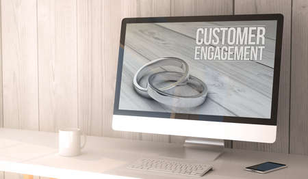 engaging: digital render generated workspace with customer engagement on the screen of computer and smartphone. All screen graphics are made up. Stock Photo