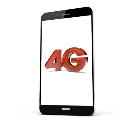 4g: render of a phone with 4g on the screen isolated. Screen graphics are made up. Stock Photo