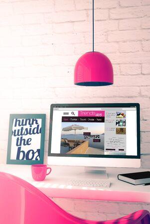 roze werkruimte met trends blog computer. 3D-afbeelding.