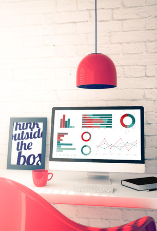 business graphics: red workspace with business graphics computer. 3d illustration.