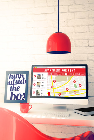 apartment search: red workspace with online apartment for rent search website. 3d illustration. Stock Photo