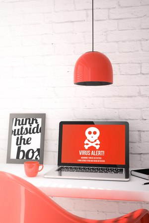 anti piracy: Laptop with virus alert on a destop in office. all screen graphics are made up. 3d Illustration.
