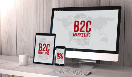 b2c: Digital generated devices on desktop, responsive with b2c marketing concept  on screen. All screen graphics are made up.