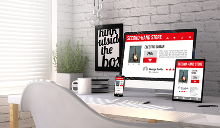 stilish: Business concept: Devices generated with Second-hand store responsive web on the screen on stilish workplace. All graphics are made up. Stock Photo