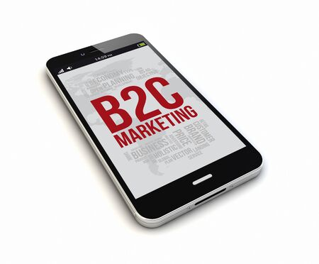 b2c: render of an original smartphone isolated with b2c marketing on the screen. Screen graphics are made up. Stock Photo