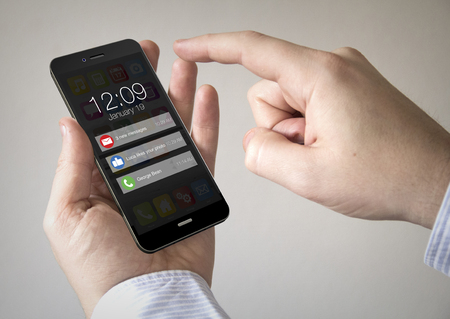 Close up of man using 3d generated mobile smart phone with notifications on the screen. Screen graphics are made up.