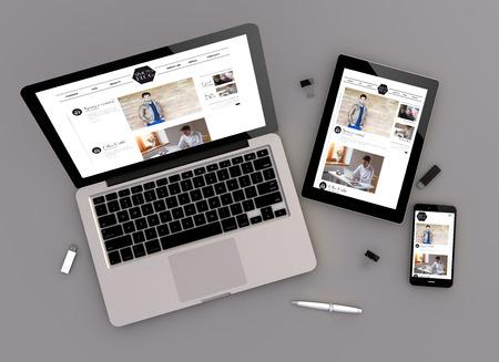 3D-afbeelding van fashion blog reagerende apparaten met een laptop computer, tablet PC en touchscreen smartphone. Zenith uitzicht. Alle screen graphics zijn opgebouwd. Stockfoto