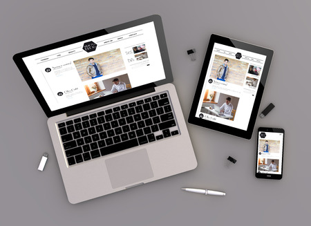 3d illustration of fashion blog responsive devices with laptop computer, tablet pc and touchscreen smartphone. Zenith view. All screen graphics are made up.