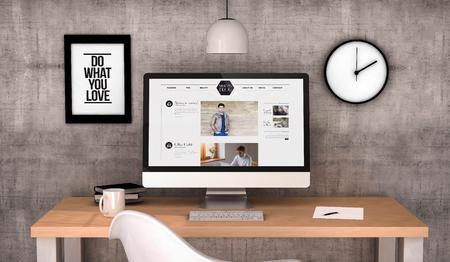 digital erzeugte Arbeitsplatz Desktop mit männlichen Mode-Blog auf dem Bildschirm Computer. Alle Bildschirmgrafiken bestehen. 3D erzeugt.