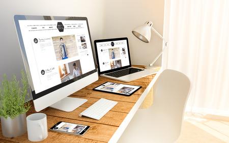 Cyfrowy generowany urządzeń na drewnianym stole z bloga reagującego koncepcji. Wszystkie grafiki na ekranie są zmyślone.