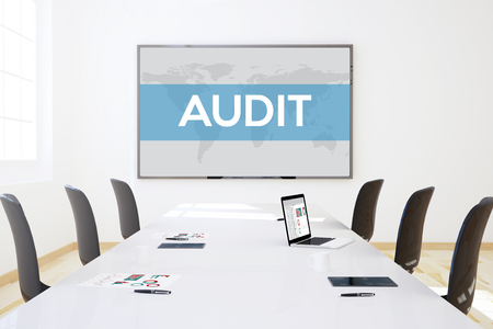 big screen: 3d rendering of business meeting room with big screen showing audit concept Stock Photo