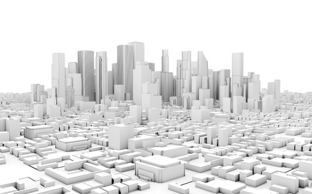 financial district: 3d city panorama isolated on white background Stock Photo