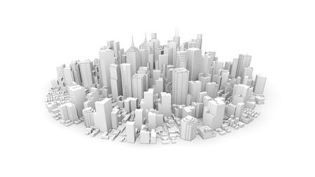 丸みを帯びた白い都市の 3d レンダリング