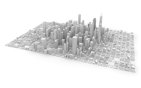 metropolis: 3d rendering of a white business city isolated Stock Photo