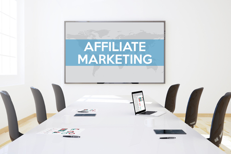 contextual: 3d rendering of business meeting room with big screen showing affiliate marketing concept Stock Photo