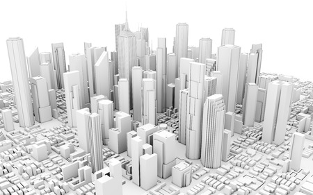 3d city downtown isolated on white background