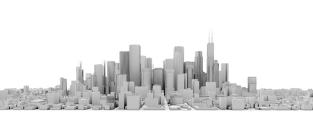 downtown: 3d downtown white isolated city