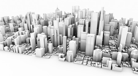 3d rendering of a white business city downtown