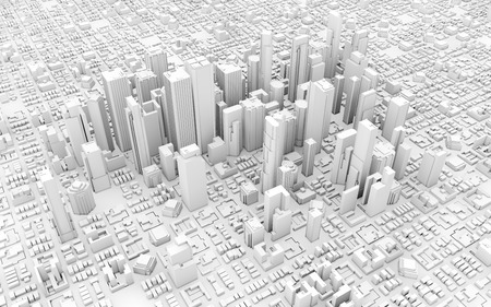3d downtown white business downtown