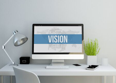 clean up: modern clean workspace mockup with vision on screen. 3D illustration. all screen graphics are made up. Stock Photo