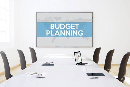 big screen: 3d rendering of business meeting room with big screen showing budget planning concept
